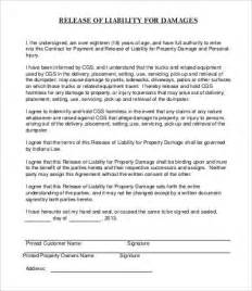 Property Damage Release Form Template by Release Of Liability Form Template 8 Free Sle