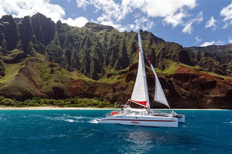 napali coast boat tour sunset kauai na pali sunset cruise on the akialoa best kauai tours