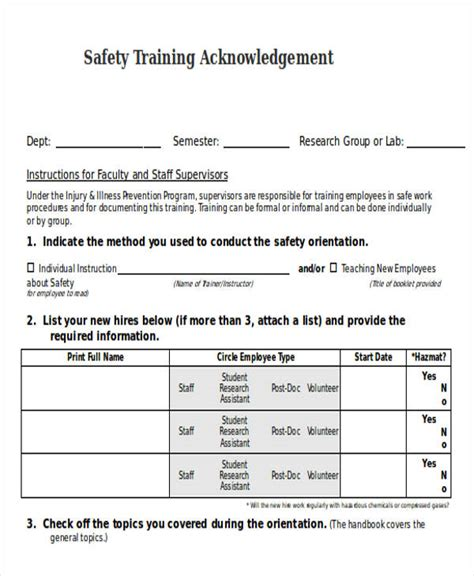 Acknowledgement Letter For New Employee safety manual template food safety enhancement program