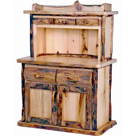 Kitchen Buffet Hutch Furniture Rustic Aspen Kitchen Hutch