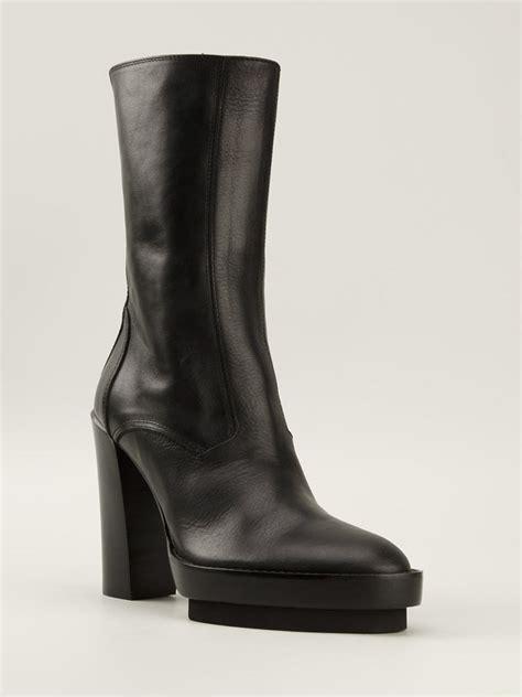 Chunky Heel Platform Boots lyst demeulemeester chunky heel platform boots in black