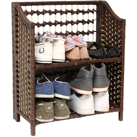 wicker shoe storage folding shoe rack organiser wicker raffia hallway porch 2