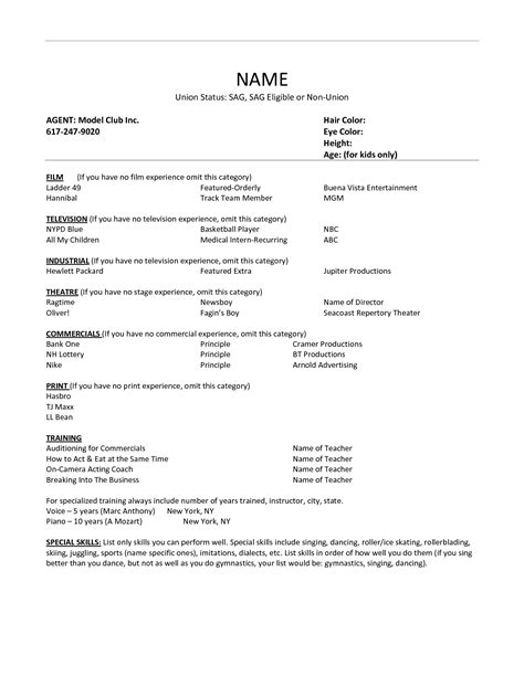 Acting Resume Template 2015 Regional Experience