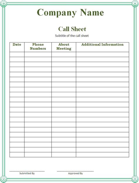 Call Template call sheet template