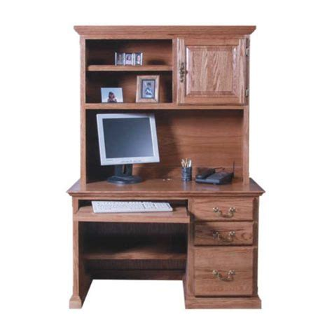 traditional compact computer desk with hutch