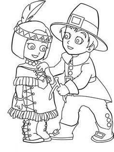 coloring pages indian girl and pilgrim boy coloring page