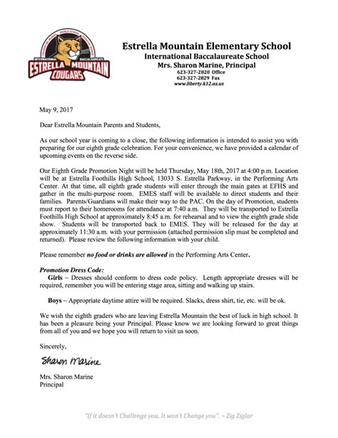 Promotion Letter To Parents 8th Grade Promotion 2017 Estrella Mountain Elementary School