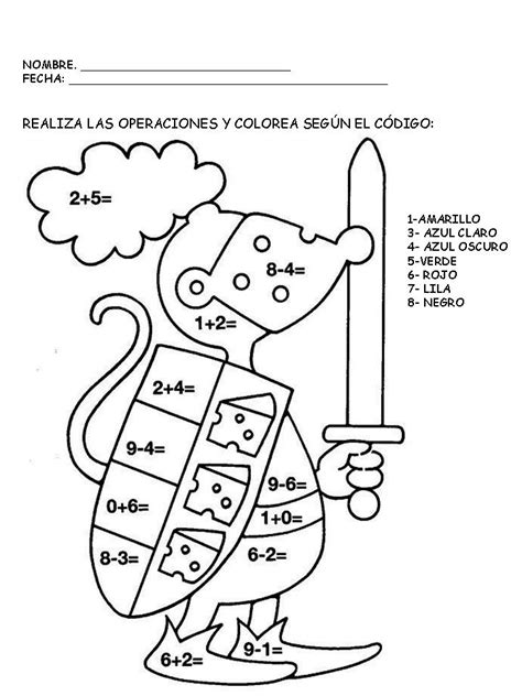 imagenes con operaciones matematicas para colorear dibujo para aprender a sumar