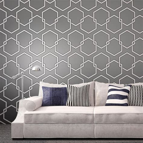 removable wallpaper clean honeycomb industrial loft grey white black removable