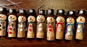 wine cork snow man christmas ornament the hats are made
