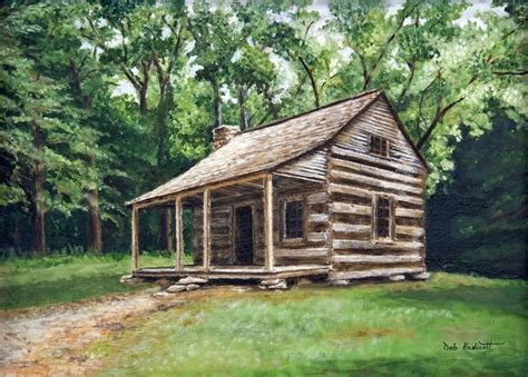 Log Cabin Paintings by Log Cabin Original Painting Done By Deb Endicott