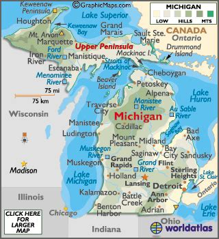 5 themes of geography michigan michigan maps including outline and topographical maps