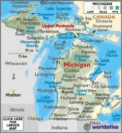 Michigan In World Map by Michigan Map Geography Of Michigan Map Of Michigan
