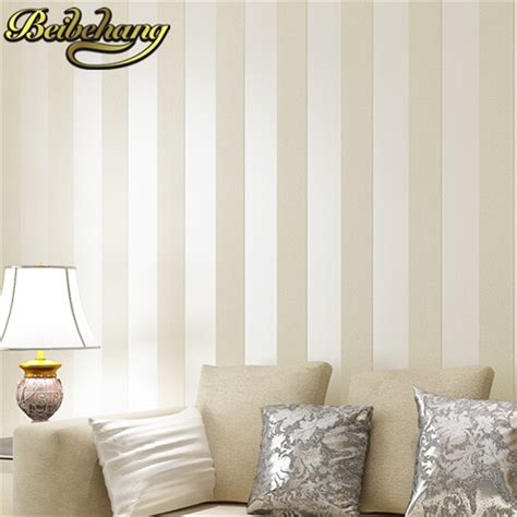 beibehang simple style glitter stripe circles wall paper beige brown wide band stripe