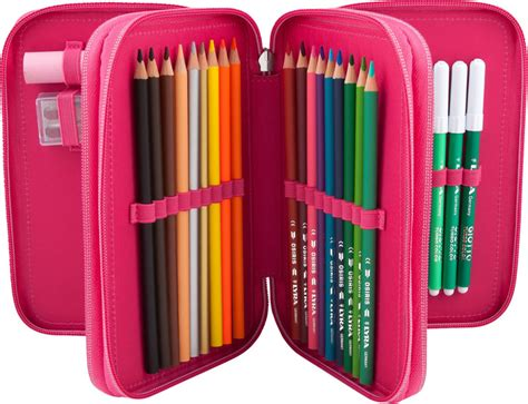 pencil cases with three sections miss melody pencil case with three parts and filling pink