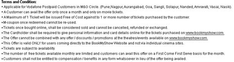 bookmyshow sangli vodafone delights offer buy 1 get 1 free movie ticket