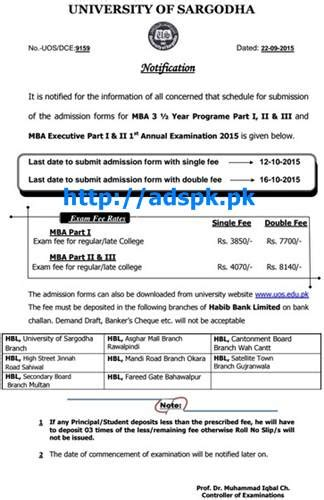 Mba Application Form In 2015 by Of Sargodha Mba 3 5 Year Program Part I Ii