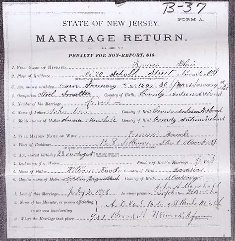 Nj Marriage Records Archives Records History For William Jaquillard Hauch Family