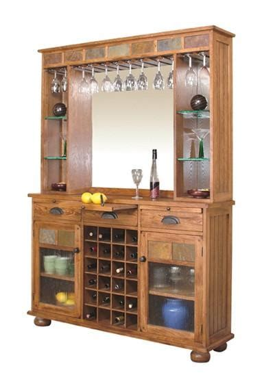 bar hutch sd 2413ro 55 quot sedona rustic oak back bar hutch and server