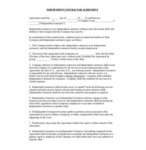 contractor contract template independent contractor agreement for salon studio