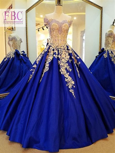 real picture royal blue prom dresses gold appliques