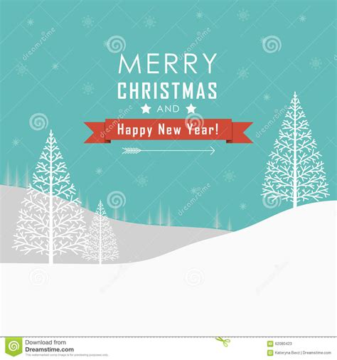 merry christmas and happy new year landscape stock vector