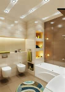 small bathroom design in beige and brown color scheme