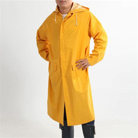 free shipping outdoor raincoat thicken pocket coat yellow colors hiking waterproof