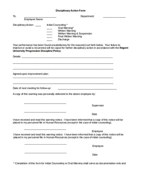employee discipline form template sle employee discipline form 10 exles in pdf word
