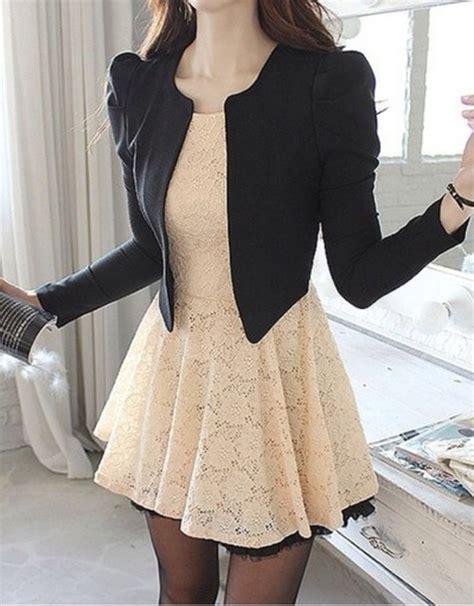 Theblazer Semi Dress Casual black and white casual formal dress fashion style