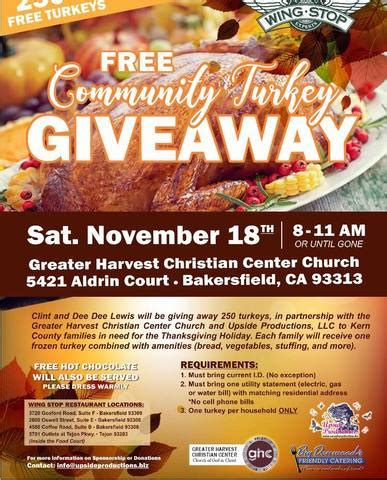Free Turkey Giveaway 2017 - free community turkey giveaway saturday november 18 turnto23 com bakersfield ca