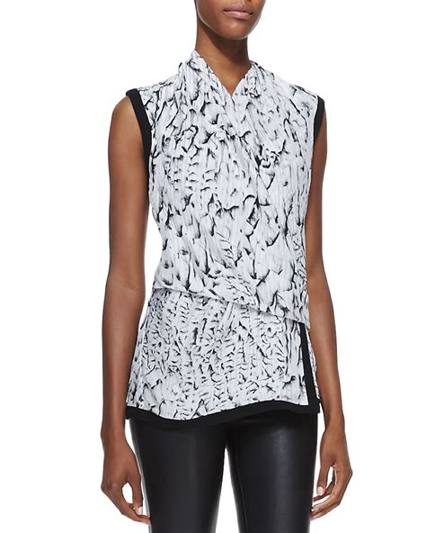 draped silk blouse helmut lang annex printed draped silk blouse in white