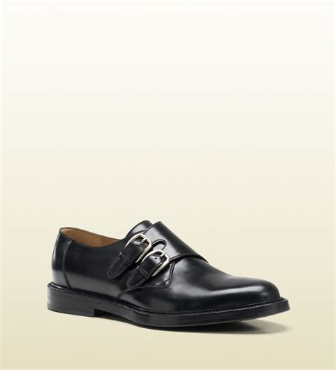 gucci black leather monk shoe in black for lyst