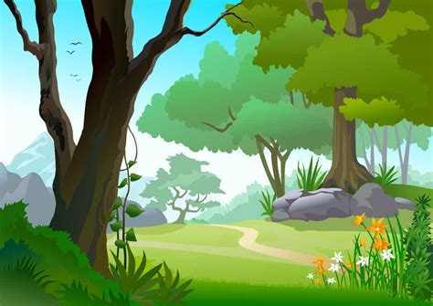Banner Safari Hewan preview green landscape trees vector background
