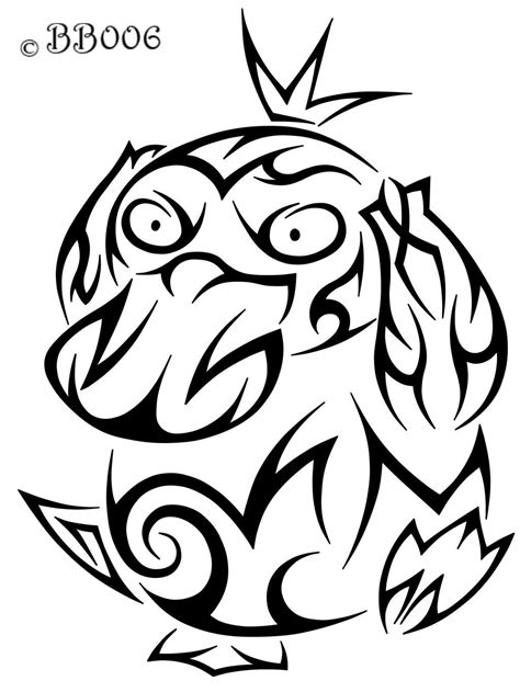 tribal tattoo pokemon 054 psyduck tribal pok 233 mon