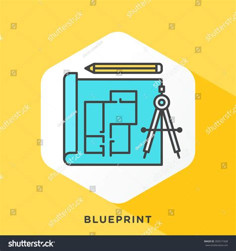 Outline Offset Color by Blueprint Icon With Grey Outline And Offset Flat Colors Modern Style Minimalistic Vector