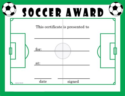 soccer award certificates activity shelter blank