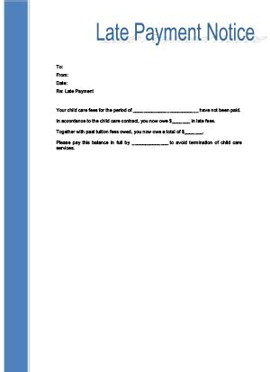 late payment notice printable for child care | childcare