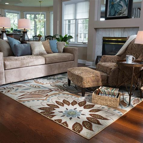 impressive floral rug with comfort sofa set and