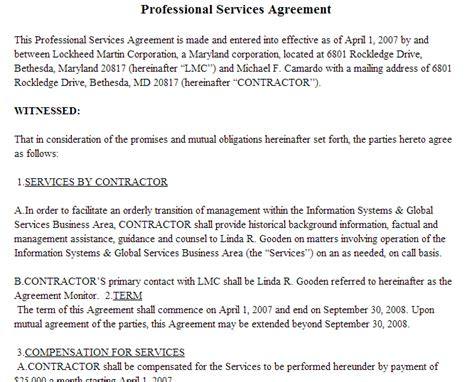 professional services contract template letter of agreement master professional services agreement