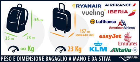 con easyjet posso portare una borsa peso e dimensione bagaglio a mano e da stiva airpark