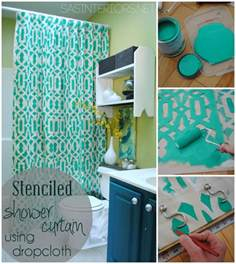 how to make a shower curtain diy stenciled shower curtain using drop cloth burger