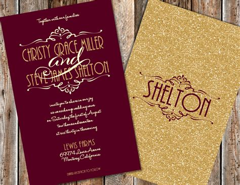 Wine And Gold Template Wedding Invitation Card Sle maroon and gold wedding invitations gold glitter wedding