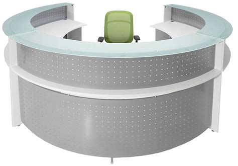 Circular Reception Desk White Semi Circular Glass Top Reception Desk