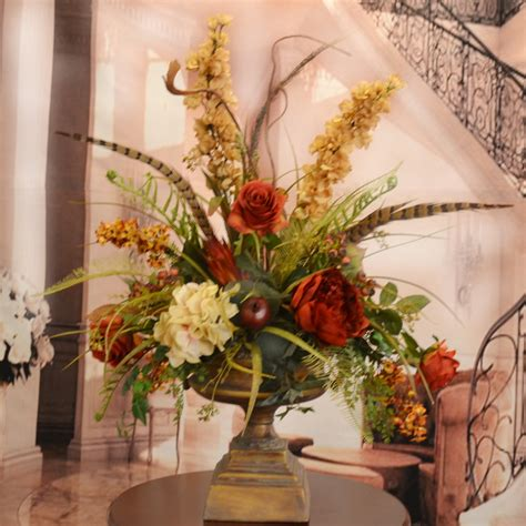 home decor floral floral home decor large silk flower arrangement with feathers reviews wayfair
