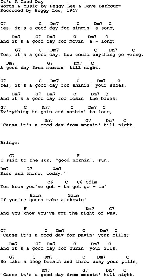 lyrics it s a special day song lyrics with guitar chords for it s a day peggy