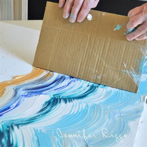 painting with acrylic paint on canvas tips drag your card board across your paint to make your