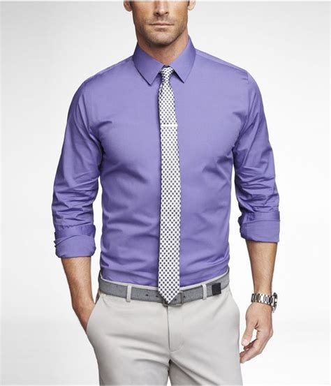 light purple dress shirt purple dress shirt black and white tie light grey pant