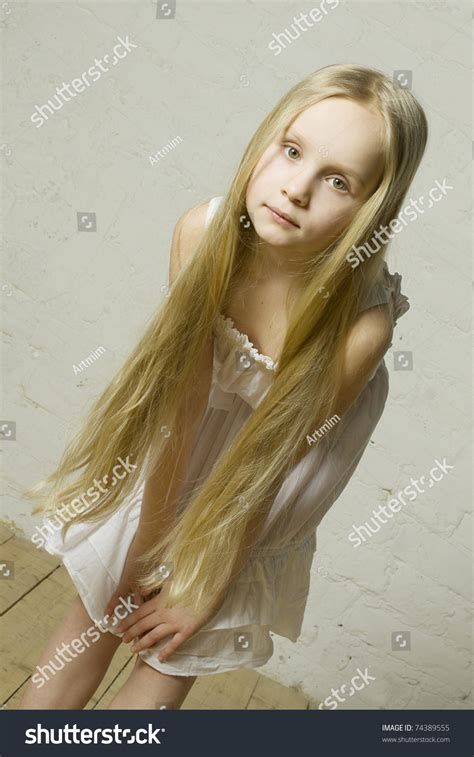 little young female models little girl fashion model long blond stock photo 74389555