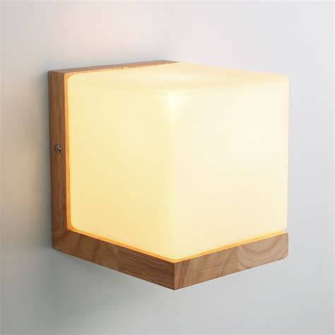 Glass Bedroom Wall Lights Modern Oak Wood Cube Sugar Shade Wall L Bedroom Wooden